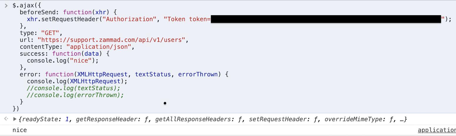 AJAX / JQUERY API Call - Technical assistance - Zammad - Community